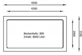 GFK Rechteckbecken (Schwarz) 450 x 310 x 80cm