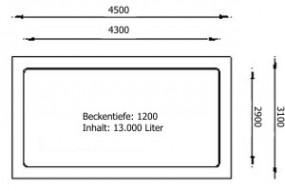 GFK Rechteckbecken (Schwarz) 450 x 310 x 120cm