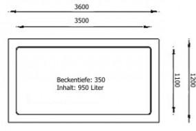 GFK Rechteckbecken (Schwarz) 360 x 120 x 35cm