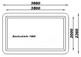 GFK Rechteckbecken (Schwarz) 386 x 236 x 100cm