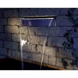 Edelstahl Wasserfall 90cm mit LED Beleuchtung Warmweiss