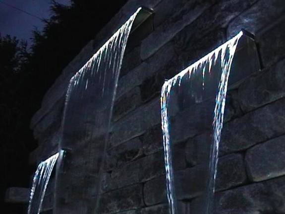Wasserfall Edelstahl 3er Set bei Nacht